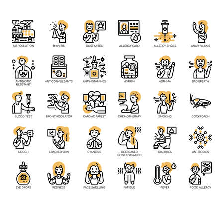 Set of allergy thin line and pixel perfect icons for any web and app project.