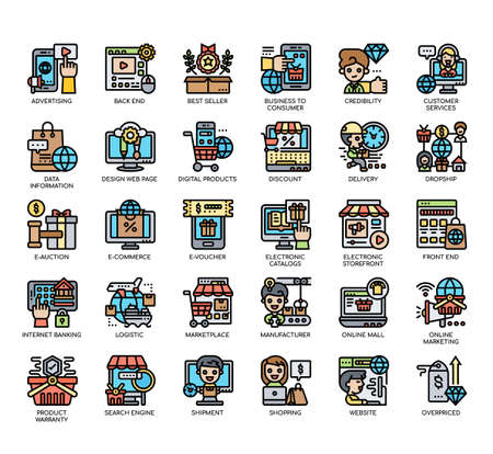 Set of Online Marketplace thin line and pixel perfect icons for any web and app project. Banco de Imagens