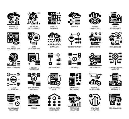 Set of Data Analytics thin line and pixel perfect icons for any web and app project. Banco de Imagens