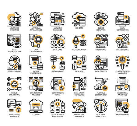 Set of Data Analytics thin line and pixel perfect icons for any web and app project.