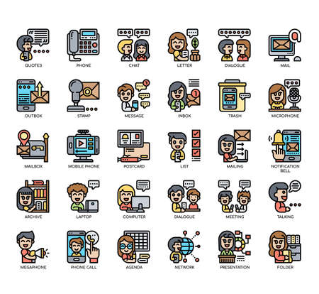 Set of Dialogue Assets thin line and pixel perfect icons for any web and app project.