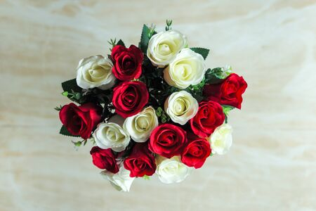 red roses: Artificial rose bouquet Stock Photo