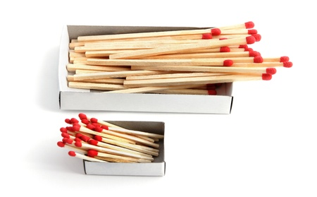 Two box of matchsticks on a white. photo