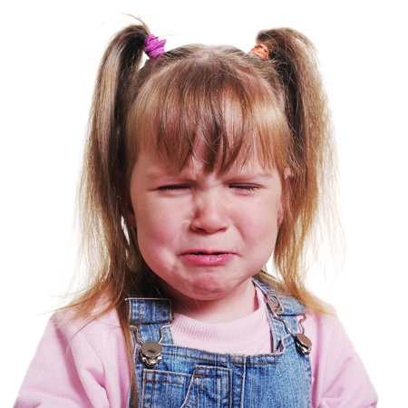 Girl with pigtail is crying.