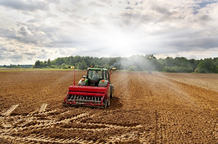 Two tractors on the field in a sunny day. photo