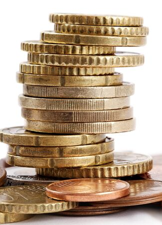 Tower of euro coins, vertical photo. photo