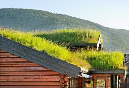 Kleine huizen met een dak van gras op een berg in de Noorwegen.