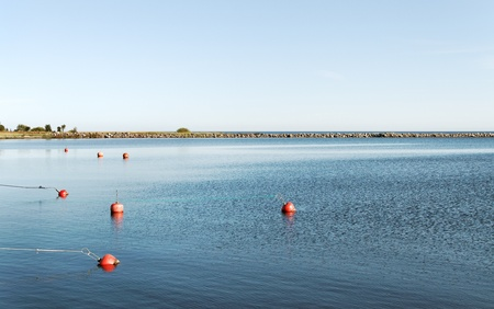 Bay with red buoys on the sea water. photo