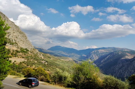 Mountain landscape at the Delphi in Greece. photo