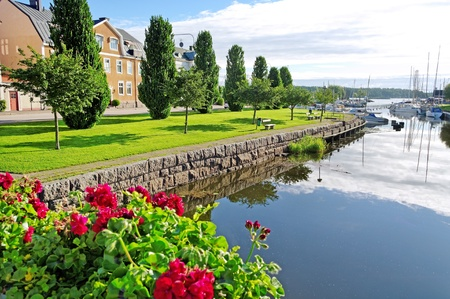 View from bridge to the pier for sailboat in a Sweden. Stock Photo