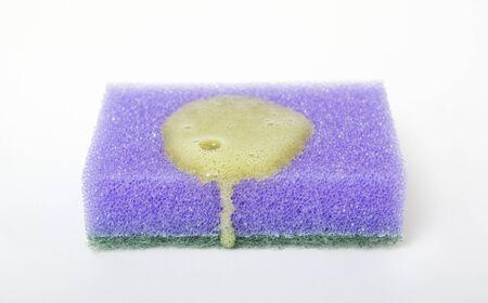 orange washcloth: Wothcloth with soap. Stock Photo