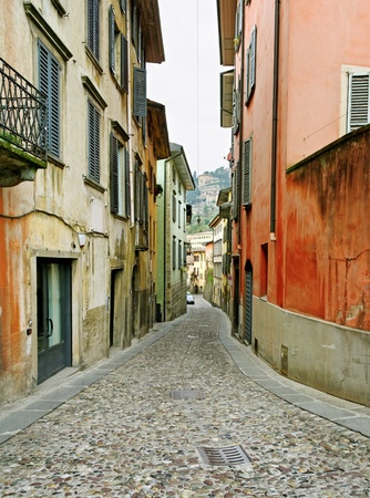 Old narrow street in Bergamo city