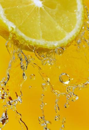 Fresh slice of lemon with water splash