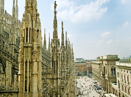 View from Milan Cathedral Dome  Stock Photo