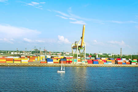 Container terminal and sailing ship   photo