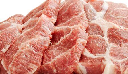 Schijfjes van rauw varkensvlees
