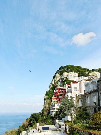 Building on rock of Capri island  photo