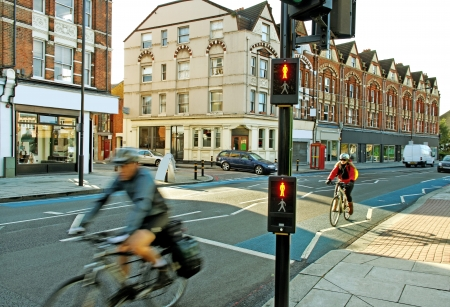 trafic: Two bikers on the London street  Stock Photo