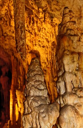stalagmites: Stalactites and stalagmites forming in Slovakia cave