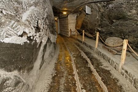 Corridor in salt mine and museum exhibit