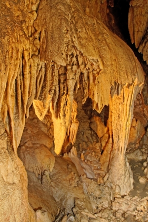stalactites: Stalactites and stalagmites forming in Slovakia cave