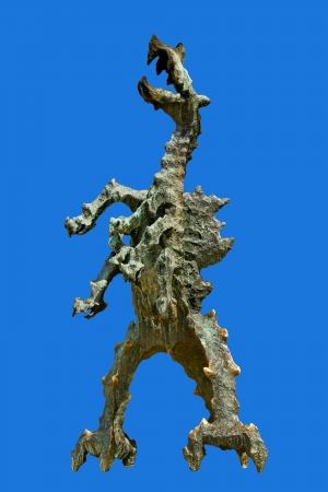 Dragon de Wawel isolé sur la surface bleue Banque d'images - 14578127