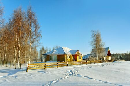 Country detached houses in a beautiful morning