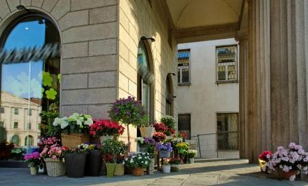 Vente de fleurs sur la rue Bergame, Italie Banque d'images - 14761660