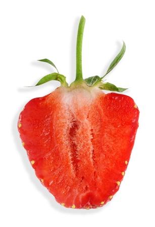 servilleta de papel: Medio natural de la fresa madura en blanco servilleta superficie
