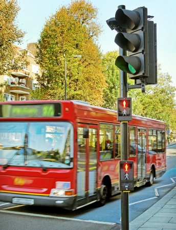 Red bus on the street and traffic light  Stock Photo - 15078094
