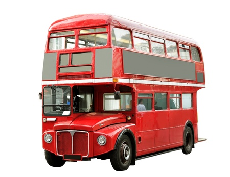 fare: Red bus in London isolated on white surface  Stock Photo