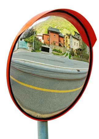 Natuurlijke beveiliging spiegel geà ¯ soleerd op wit oppervlak Stockfoto