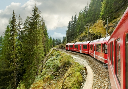 Red train from Tirano to the Switzerland  Stock Photo