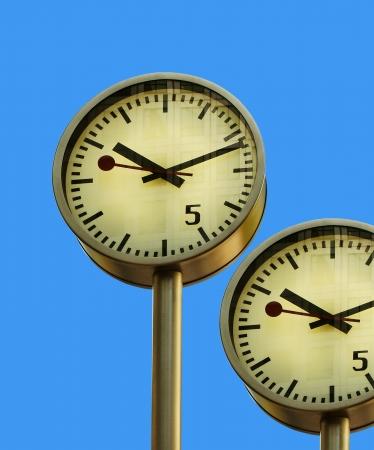 canary wharf: Clock in Canary Wharf in London Stock Photo