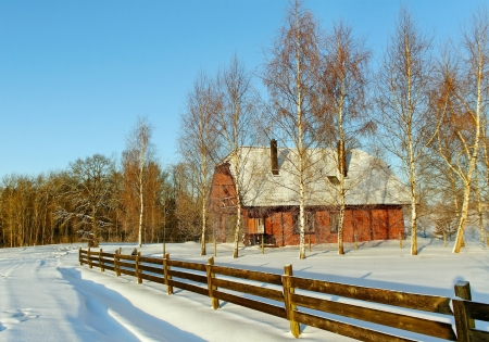 Country road in a winter season  photo