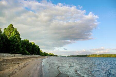 falling tide: Low water of Daugava river in Latvia