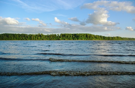 ebb: Wave on  water surface of Daugava river