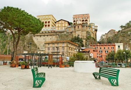 Cliff buildings in Sorento, Italy