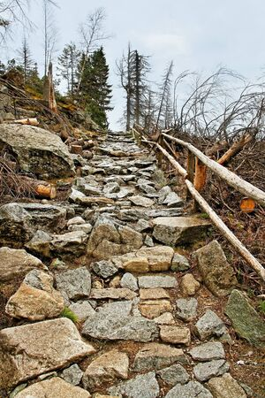 Slovakia mountains with stone footpath  photo