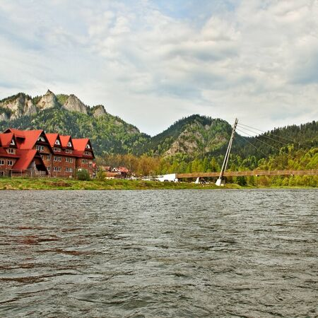 Wooden bridge above Dunajec river between Slovakia and Poland