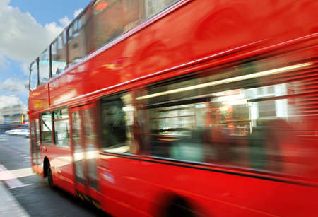 Blur of London bus on the street