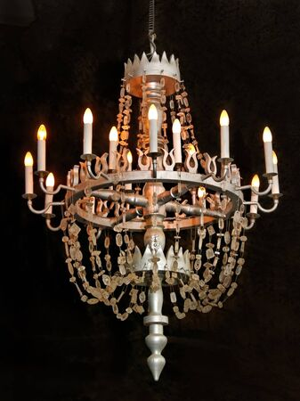 Chandelier with salt crystal in the church of Wieliczka cave  photo