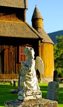 Norway cemetery with church and monuments  photo