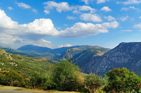 delfi: Mountain landscape in Greece, Delfi district  Stock Photo