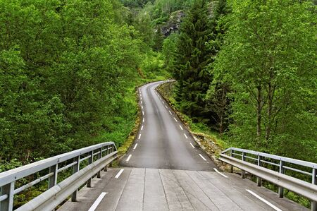 Road with bridge in the Norway  photo