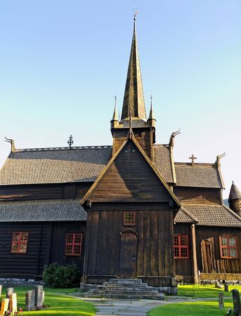 Wooden church in the Norway cemetery  photo