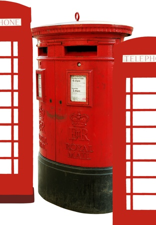 Red mail-box in London and boxes of phone. photo