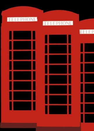 Red phone boxes in London isolated on black surface. photo