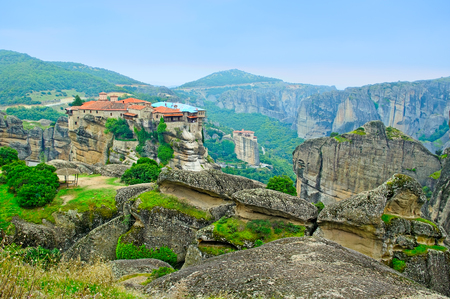 Landscape with tall rocks with buildings on them, monastery from Meteora-Greece. photo