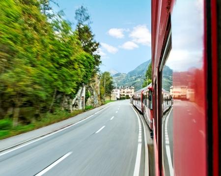 Red train from Tirano to the Switzerland.  photo